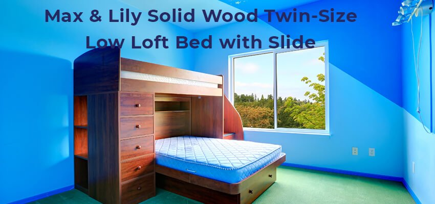 Max Lily Solid Wood Twin Size Low Loft Bed with Slide